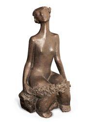 Resumo de bronze Mulher sentada esculturas de fundição para Hotel / Jardim / Decoração Estátua