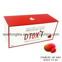 주문을 받아서 만들어진 상표 Dtox't 14일간 체중 감소 Detox 차 딸기와 망고 주입
