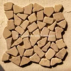 Mosaico beige giallo del ciottolo della pietra per lastricati del calcare per le mattonelle della parete & le mattonelle di pavimento