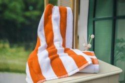 Oeko bestätigte Baumwollstrand-Streifen-Tuch, blaues weißes Streifen-Pool-Tuch