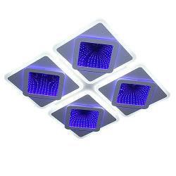 Новая функция 2.4G, с регулируемой яркостью с пульта дистанционного управления 4 квадратных дизайн светодиодные потолочные светильники с 3D оформление зеркал голубой/пурпурный эффект