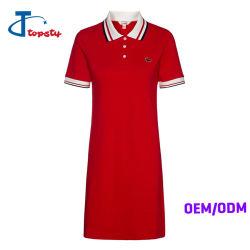 カスタマイズされた方法不足分の袖細い適合の綿のポロの服、女性または女の子の長いポロシャツ
