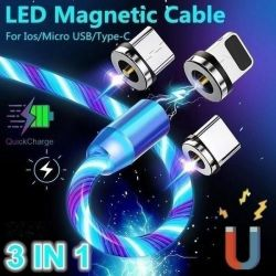 Câble USB 3 en 1 nouvelles 360 voyant USB chargeur Chargeur téléphone magnétique qui coule du câble de chargement facile de se connecter avec Design magnétique