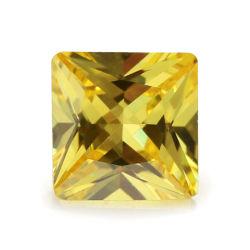 لون صفراء [كز] تكعيبيّ زركونيوم حجر كريم مربّع شكل مادّة اصطناعيّة حجارة