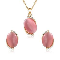 Último projeto Zircon Pink Opal Colar brincos conjunto de jóias