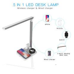 3개의 가벼운 최빈값을%s 가진 무선 충전기, 눈 돌보아 주는 접의자 램프 & 장교를 위한 광도 수준, 접촉 통제를 가진 1 LED 책상용 램프 USB에 대하여 Delcome 5