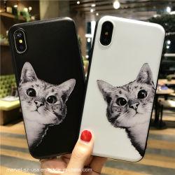 Черно-белый Cute Cat мягкая подошва из термопластичного полиуретана телефон чехол для iPhone