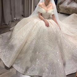 Hwd029 Dream Star Bridal Main Wedding Dress 2021 New Hepburn Zware industrie Eén schouder Bruiloft jurk Hoge Waist Luxe Tuxedo Bruids