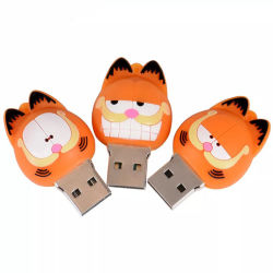 Cartoon Mini Garfield Gato OEM Flash Drive USB 2.0 4 GB de PVC 16GB, 32GB, 64GB Chave Portátil Memory Stick USB Pendrive Armazenamento Externo