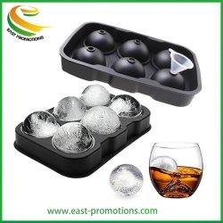 6 personalizadas de silicone de cavidade do molde de esferas de gelo, Grau Alimentício Bandejas de cubos de gelo de Borracha