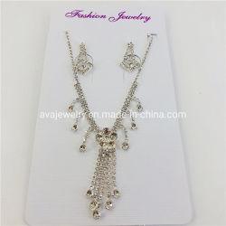 Горячая продажа ювелирных украшений моды Clear Crystal цветочный Tassel устраивающих цепочка наборов ювелирных изделий