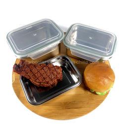 500ml 304 de Zwarte Container van de Opslag van de Lunch van het Voedsel van Bento van het Roestvrij staal van het Poeder met het Deksel van het Bamboe