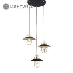 3Lt simple poignée de commande de fer intérieur lampe avec auvent ronde
