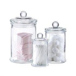 綿綿棒、構成のスポンジ、バスソルト、毛のタイのためのガラス浴室の虚栄心の記憶の瓶