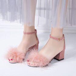 أزياء سكوير الكعب بنات fur ساندالز النساء الحزب أحذية لطيف ساندالز شقة
