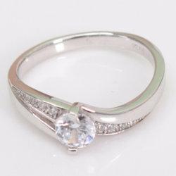 형식 보석 단 하나 돌 고전적인 다이아몬드 보석 3A 입방 지르콘 반지 925 순은