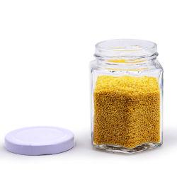 Sechseckiger Nahrungsmittelspeicher-Glashonig-Glas-Datenträger 100ml mit Metallöse-Kappe