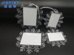 Sublimation-grosse quadratische Schnee-Form-Weihnachtsanhänger