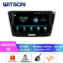 VW 차 DVD 플레이어에 있는 2016-2017년 Passat 4GB 렘 64GB 저속한 큰 스크린을%s Witson 인조 인간 10 차 자동 라디오 GPS