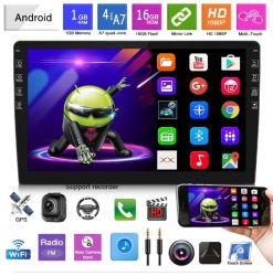 9인치 더블 DIN Android 차량용 무전기 BT 카 스테레오 GPS 내비게이션 FM USB 자동 라디오
