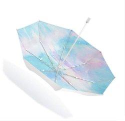 Het sterrige Zonnescherm van de Regen beschermde de Dubbele Paraplu van de Zon van de Luifel 3fold Kleine Verse Anti UV