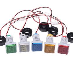 مؤشر صغير مربع 22 مم مؤشر جهاز قياس الفولتية مقياس التردد LED رقمي شاشة العرض مع ضوء الإشارة