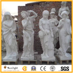 Hand geschnitzt, Steinfrauen-Skulptur-Vierjahreszeitenmarmorstatue schnitzend