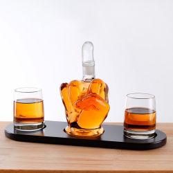 1000ml de capacité à la main haute en verre borosilicaté forme de doigt du milieu du vin carafe de whisky avec tasse 330 ml pour la maison et le Bar L'utilisation