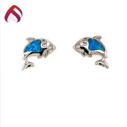 열대 작풍 파란 단백석 보석 순은 동물성 장식 못 귀걸이