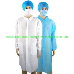 カラーが付いている使い捨て可能な非編まれた長い袖の保護実験室のコート