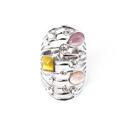 Wholesale Fashion Jewelry Ring mit Cat Eye Glitzersteinen Stones
