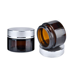 20g lado recto tapa de aluminio de crema de cuidado de piel de vidrio ámbar frascos de vidrio para Cosmética