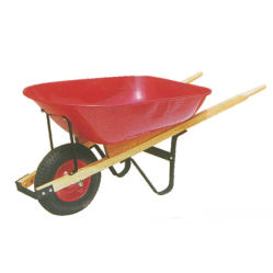 Carriola della maniglia del legno duro degli strumenti di giardino 6cbf con la rotella dell'aria di Ruber di 4.00-8 pollici