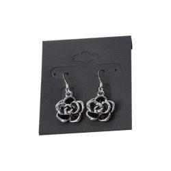 Neues Design Modeschmuck Silber Ohrringe mit schwarzen Blumen