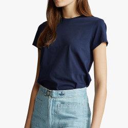 السيدات عادي طباعة أسود 100% القطن جودة عالية مخصص قميص رسومي