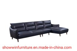 Ökonomische Wohnzimmer-Möbel-modernes ledernes Sofa L Form-halbes Leder-Wagen
