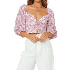 Moda Floral mulheres blusa de manga longa blusa Chiffon Senhoras Blusa Mulheres Tops Meninas Blusa Adulto Vestuário Vestuário Vestuário