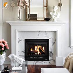Moderno Mantel con caminetto in marmo bianco