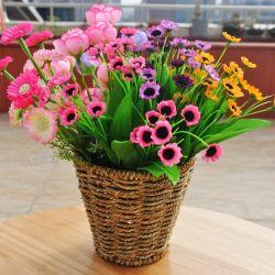 Decoración del hogar 100% tela hecha a mano Pot de paja Natural redondo de flores Planta Stand Weaving Basket