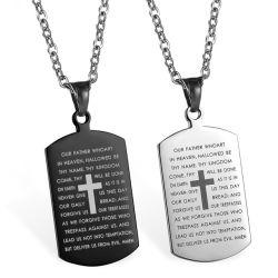 人のステンレス鋼の数珠の十字の経典の吊り下げ式のキリスト教の聖書の詩の信頼のネックレス