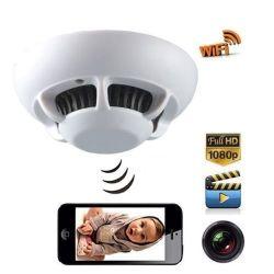 P2P مدخنة جهاز كشف الدخان WiFi HD كاميرا IP لاسلكية مربية مسجل الفيديو