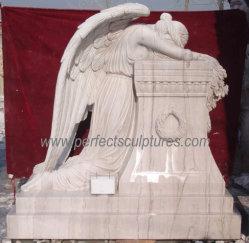 흰 대리석으로 만든 조각상 울고 있는 천사의 묘비 조각상(SY-X1388)