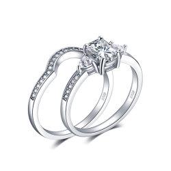 3 камня Radiant вырезать кубических обедненной смеси свадьбы Band кольцо включения устанавливает 925 серебристые украшения