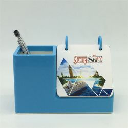 La vente en gros titulaire de plumes personnalisé acrylique colorés avec calendrier