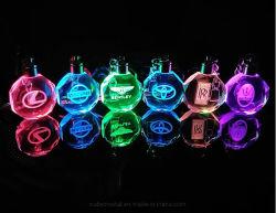 En forme de cercle populaire LED 3D de cristal trousseau avec logo de marque du client