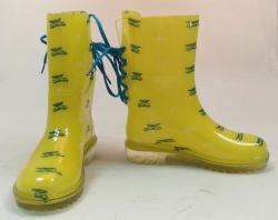 Mujer zapatos de la lluvia de PVC transparente, la lluvia, zapatos, zapatos de impresión transparente, de estilo popular de arranque de señoritas, señoras nueva moda botas de lluvia
