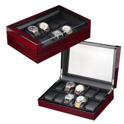 Nieuw Ontwerp 10 Doos van het Horloge Veener van Horloges de Houten voor het Venster van het Glas van de Opslag van het Horloge van Grote Mensen