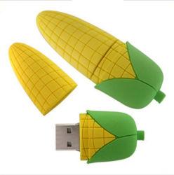 المحاصيل الغذائية على شكل الذرة USB فلاش محرك 4 جيجا بايت Silicone Cartoon ذراع USB من نوع Corn الأصفر
