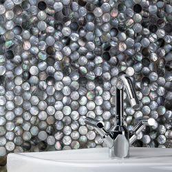 Runde Schwarze Schmetterling Shell Mosaik Natürliche Meer Shell Wand Ziegel Mosaik Fliesen für Mesh Zurück Hotel Dekoration