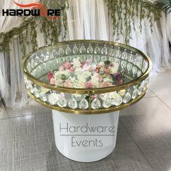 기계설비 가구 둥근 티타늄 색깔 연회 결혼 케이크 유리 테이블
